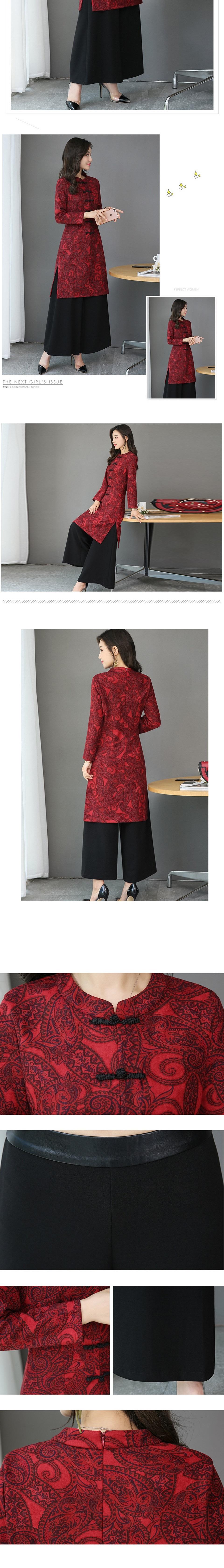 休閒套裝(三件套)-雪紡長袖上衣純色時尚優雅大方女褲裝