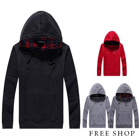 Free Shop【QM2832】日韓系內裡格紋拼布設計保暖厚棉刷毛立領連帽長袖上衣帽T‧四色