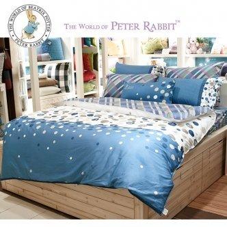 giligo 來自英國的彼得兔-英格蘭摩天輪標準單人五件式床包組-藍(PR290)