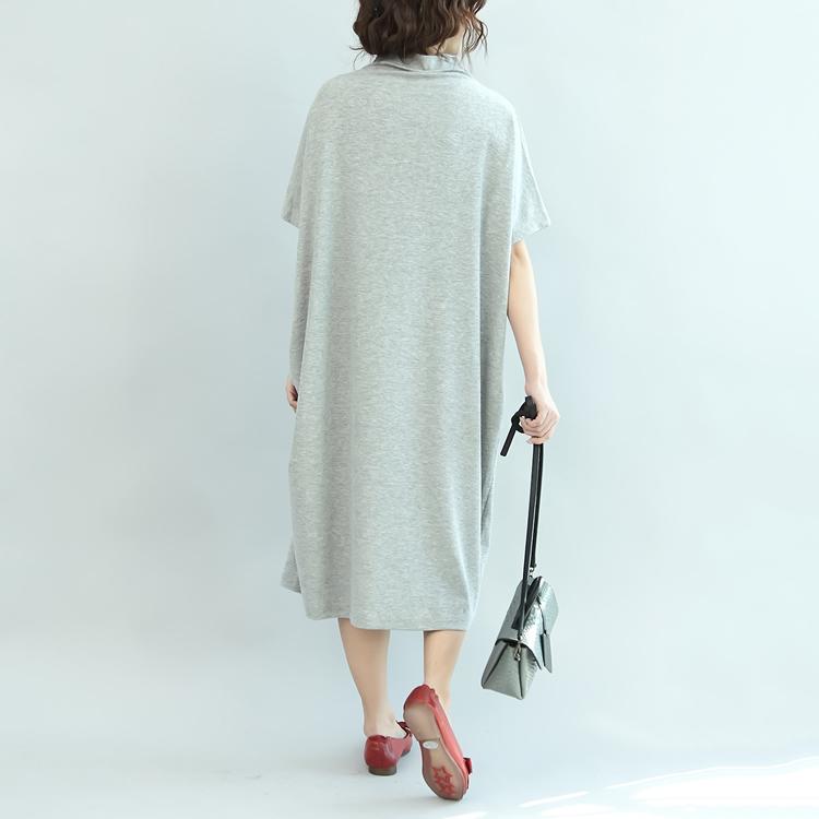 短袖洋裝加肥加大碼女裝秋季打底衫200斤寬鬆半高領口袋繡花蝙蝠袖洋裝