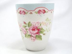 【預購】GreenGate 拿鐵杯  白底藍邊玫瑰花