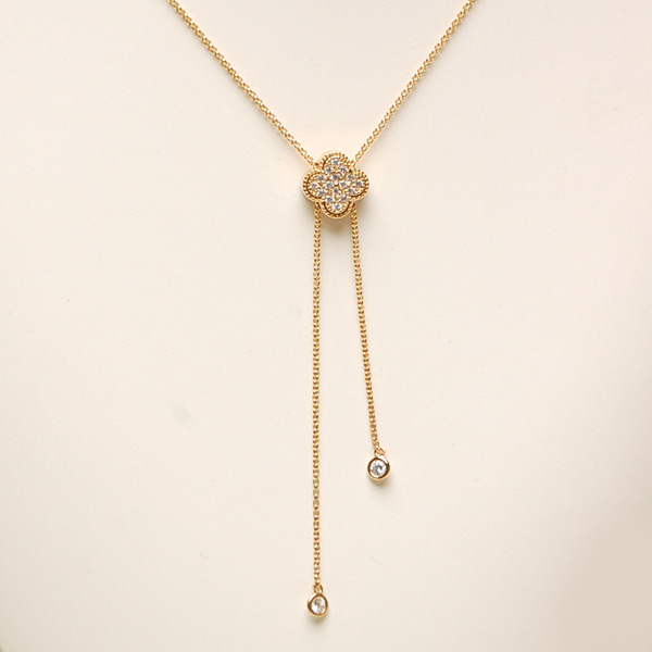 Pave Clover Slide Long Necklace 幸運草垂墜式項鍊