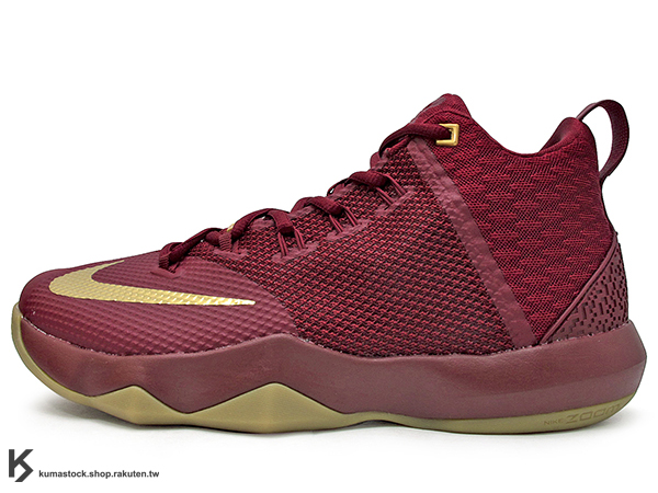 2016年 NBA LeBRON JAMES 子系列代言鞋款 戶外專用鞋款 NIKE AMBASSADOR IX 9 酒紅金 大使 HYPERFUSE + FLYWIRE 鞋面科技 前 後 ZOOM ..