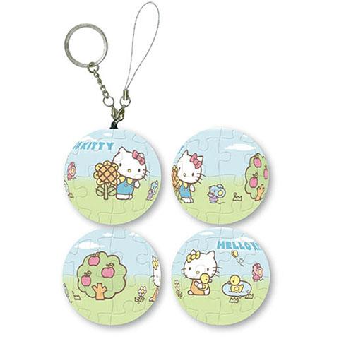 Hello Kitty花園球形拼圖鑰匙圈24片