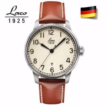 Laco 朗坤 861651 Laco朗坤夜光海洋機械錶-白/42MM 棕色真皮錶帶 原廠公司貨