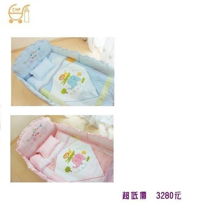 *美馨兒* 東京西川 GMP Baby-[動物園]抗蹣菌七件組/嬰兒床組(二色可挑) 3280元