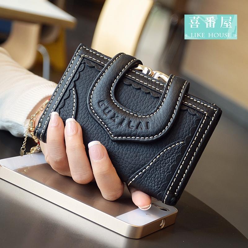 【喜番屋】日韓版真皮牛皮蕾絲女士多卡位三折皮夾皮包錢夾零錢包短夾中夾流行女包女夾LH354