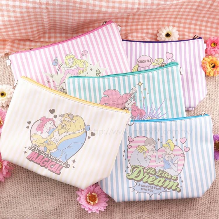 【Disney】迪士尼漫畫條紋公主系大容量化妝包/萬用包/斜背包/水餃包