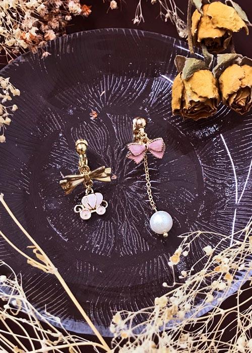 韓國飾品,南瓜車造型耳環,蝴蝶結造型耳環,夾式耳環