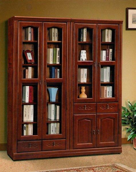 【尚品傢俱】655-04 全實木肉桂木開門書櫃,玻璃櫃 ~超耐用