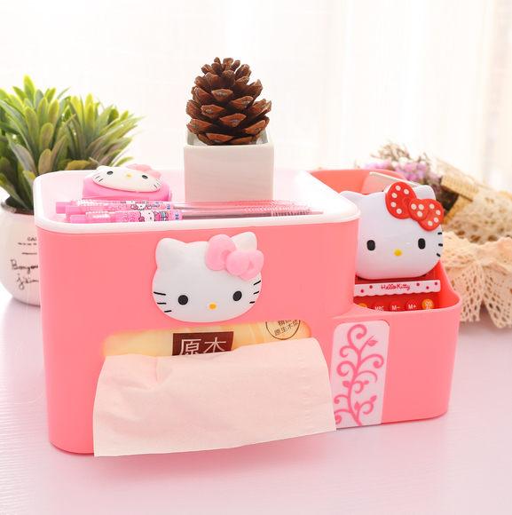 kitty收納盒-超萌hello kitty桌面式多功能面紙收納盒 附兩格置物盒【AN SHOP】