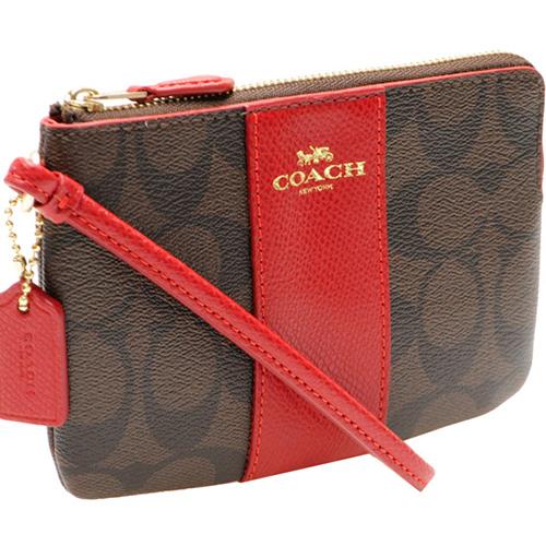 COACH 紅直條 C LOGO 防刮 L拉鍊手拿包 -深棕色