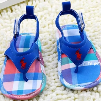 【Pink Pony】POLO藍格夾腳涼鞋