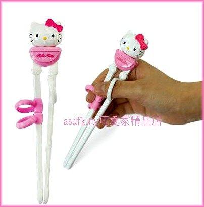 嬰童用品【asdfkitty】KITTY立體臉型右手用三點式兒童學習筷子-前端加大好夾取-韓國製