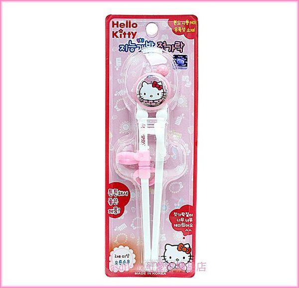 嬰童用品【asdfkitty】KITTY亮白水玉右手用三點式兒童學習筷子-前端加大好夾取-韓國製