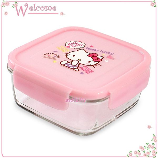 廚房【asdfkitty】 KITTY眨眼樂扣玻璃保鮮盒/便當盒-正方形760ML-可微波-韓國版