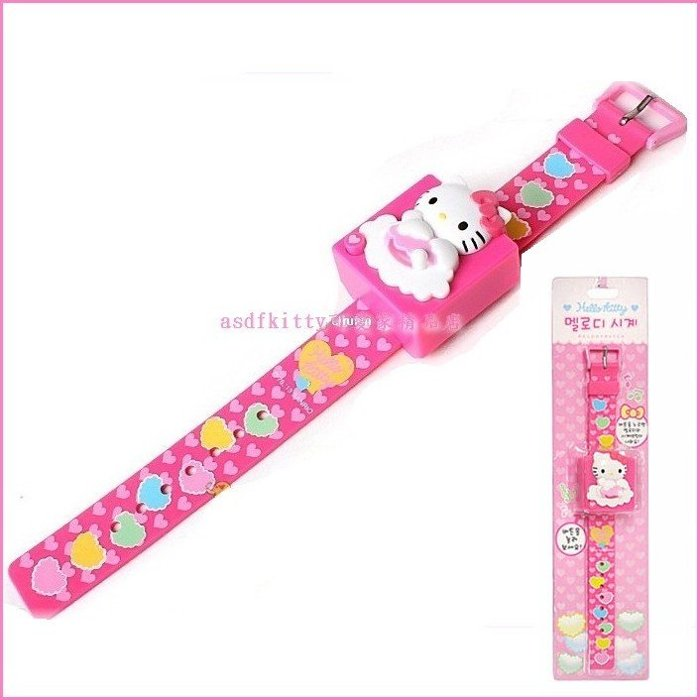 asdfkitty可愛家☆KITTY愛心天使粉色錶帶兒童手錶/電子錶/音樂手錶-韓國正版商品
