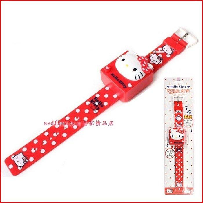 asdfkitty可愛家☆KITTY臉型點點紅色錶帶兒童手錶/電子錶/音樂手錶-韓國正版商品