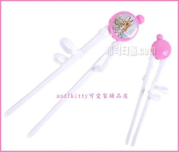 嬰童用品【asdfkitty】彼得兔粉色右手用三點式兒童學習筷子-前端加大好夾取-韓國製
