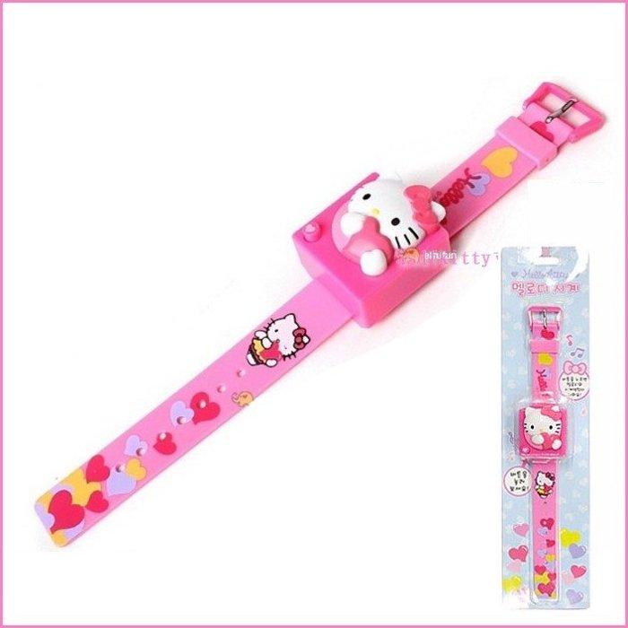 asdfkitty可愛家☆KITTY抱愛心粉色錶帶兒童手錶/電子錶/音樂手錶-韓國正版商品