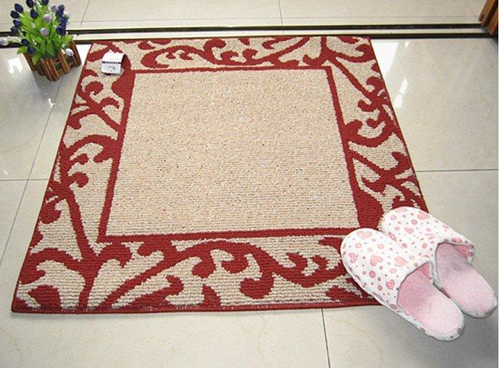 英格蘭風格 簡約紅色花草紋 80*80 CM 地墊/ 腳踏墊/ 地毯/ 玄關墊/ 門墊