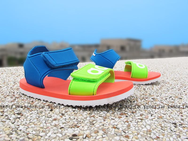 Shoestw【S76626】ADIDAS 童鞋 涼鞋 小童 雙黏帶 海灘拖 藍橘