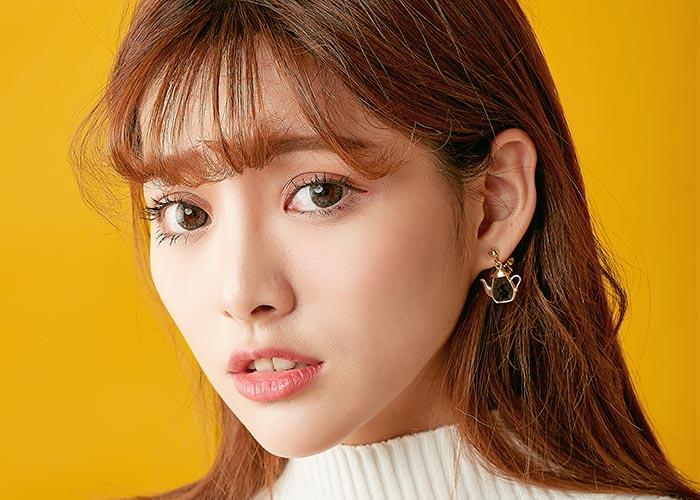 韓國飾品,茶壺造型耳環,垂墜耳環,時鐘造型耳環,夾式耳環,童趣可愛耳環