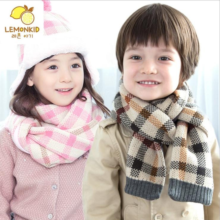Lemonkid◆秋冬經典百搭格紋舒適保暖兒童針織毛絨圍巾