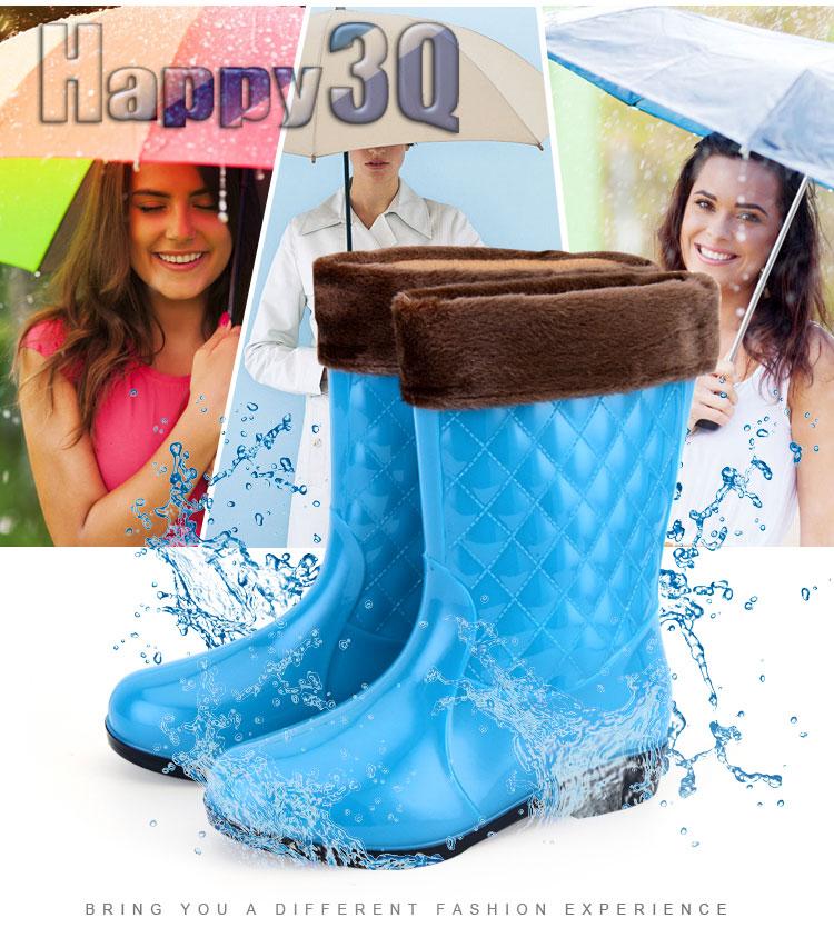 時尚菱格紋漆皮低跟中統雨靴-黑/藍/紫/紅36-40【AAA0120】