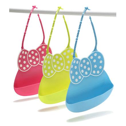 【悅兒樂婦幼用品?】Babyhood 米妮矽膠圍兜 (藍色/綠色/粉色)
