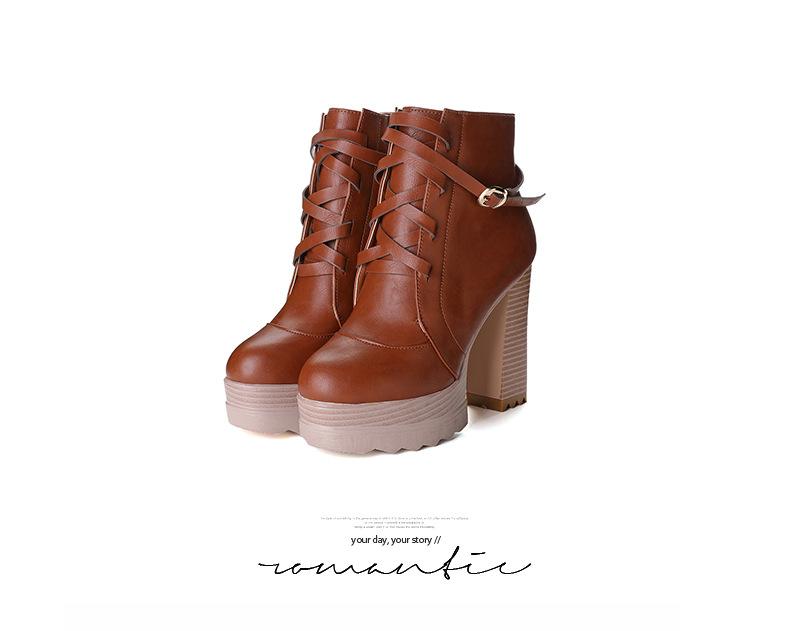2016秋冬歐美馬丁靴高跟短靴女粗跟綁帶厚底棉靴低筒靴子交叉綁帶扣環