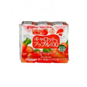 日本【貝親Pigeon】胡蘿蔔蘋果汁鋁箔包 (125mlx3入)