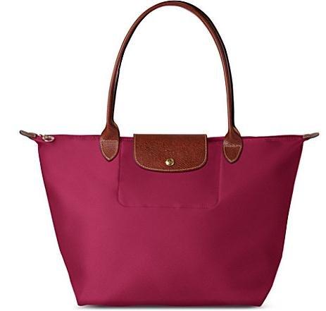 [1899-M號] 國外Outlet代購正品 法國巴黎 Longchamp 長柄 購物袋防水尼龍手提肩背水餃包紫色