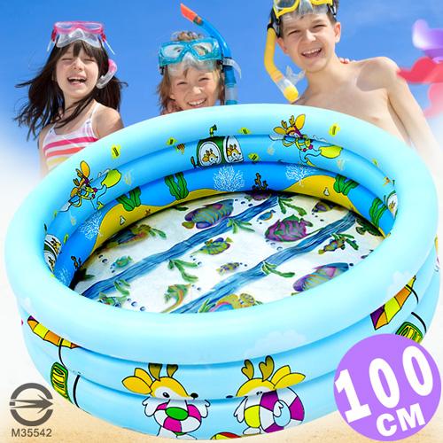 100CM小鹿充氣游泳池(透明底+排水孔)100公分兒童戲水池.充氣泳池球屋球池遊戲池.推薦哪裡買專賣店P008-101