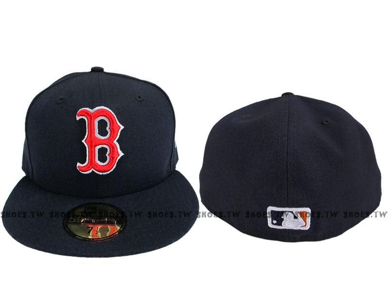 Shoestw【9631301-019】MLB 美國大聯盟 NEW ERA 球員帽 側LOGO 紅襪隊 深藍