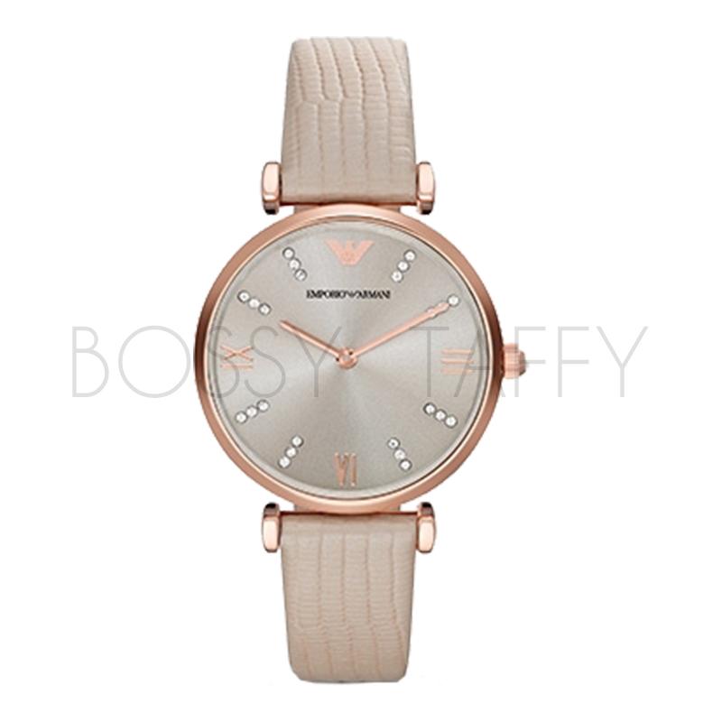 AR1681 ARMANI 亞曼尼 典雅晶鑽玫瑰金灰時尚手錶 女錶