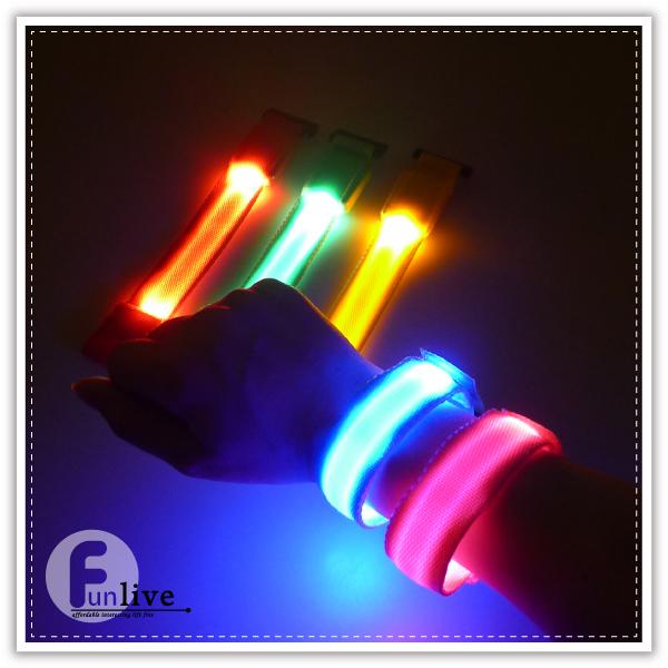【aife life】LED發光帆布腕帶/魔鬼氈/夜間反光條/發光手環/警示燈/自行車路跑活動/寵物發光項圈
