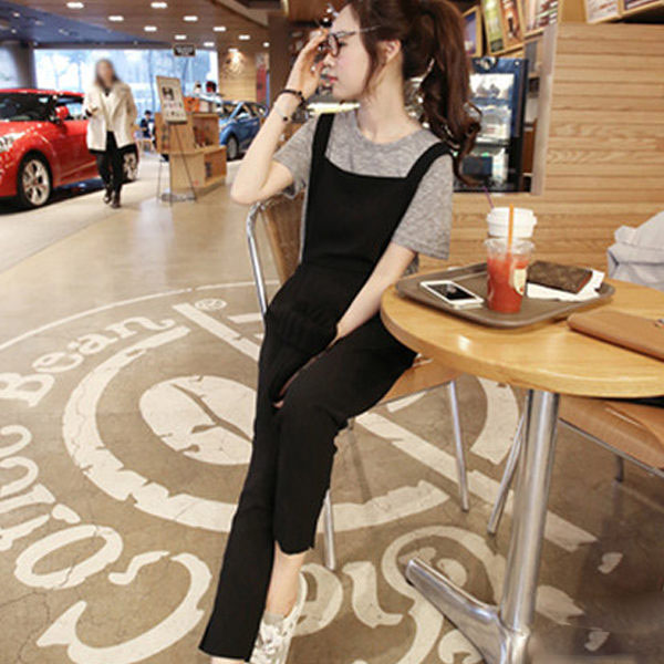 PS Mall 韓版學院風寬鬆綁帶吊帶褲 連身褲 九分褲 窄管褲【T625】