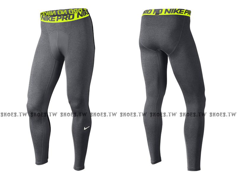 Shoestw【703098-093】NIKE PRO DRI-FIT 緊身束褲 長束褲 排汗 麻灰螢綠色 2016新版