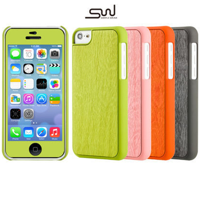 APPLE iPhone 5C 森林系木紋保護殼組合 附彩晶螢幕貼+創意小品 SIMPLE WEAR