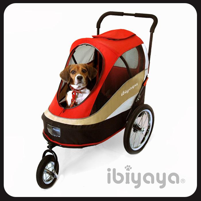 IBIYAYA依比呀呀-二代兩用寵物推/拖車(含雨罩)-紅【FS980】~寵物推車/寵物拖車/腳踏車/自行車