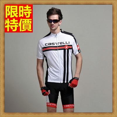短袖自行車衣套裝含腳踏車服+單車褲-高彈萊卡修身男運動服69u22【獨家進口】【米蘭精品】