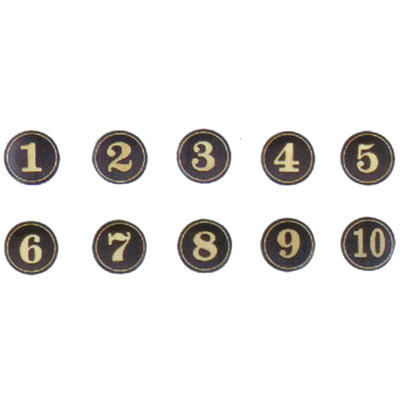 【文具通】A1 圓桌牌標示牌 數字可貼 黑底金字 34# 直徑5cm AA010708