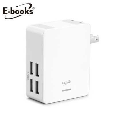 【文具通】E-books B16 AC轉USB 4孔充電器白 E-PCB112
