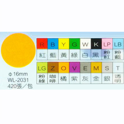 【文具通】華麗牌彩色圓點標籤WL-2031白直徑16mm M7010057