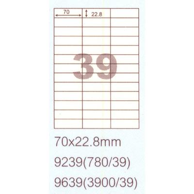 【文具通】阿波羅9239影印自黏標籤貼紙39格70x22.8mm P1410156