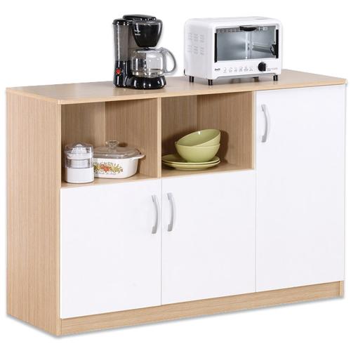 《Hopma》白橡配白三門六格廚房櫃