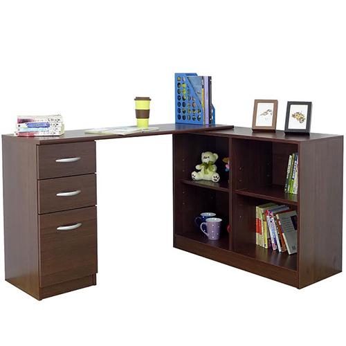 《Hopma》胡桃木色日式多功能書桌櫃
