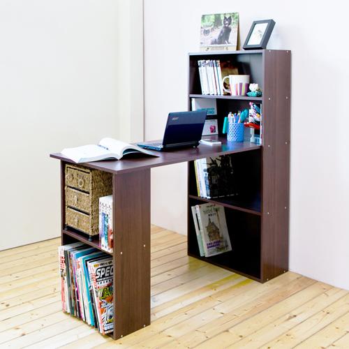 《Hopma》胡桃木色水漾4+2書櫃型書桌