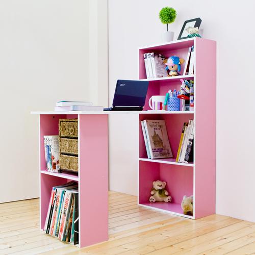 《Hopma》粉紅配白水漾4+2書櫃型書桌